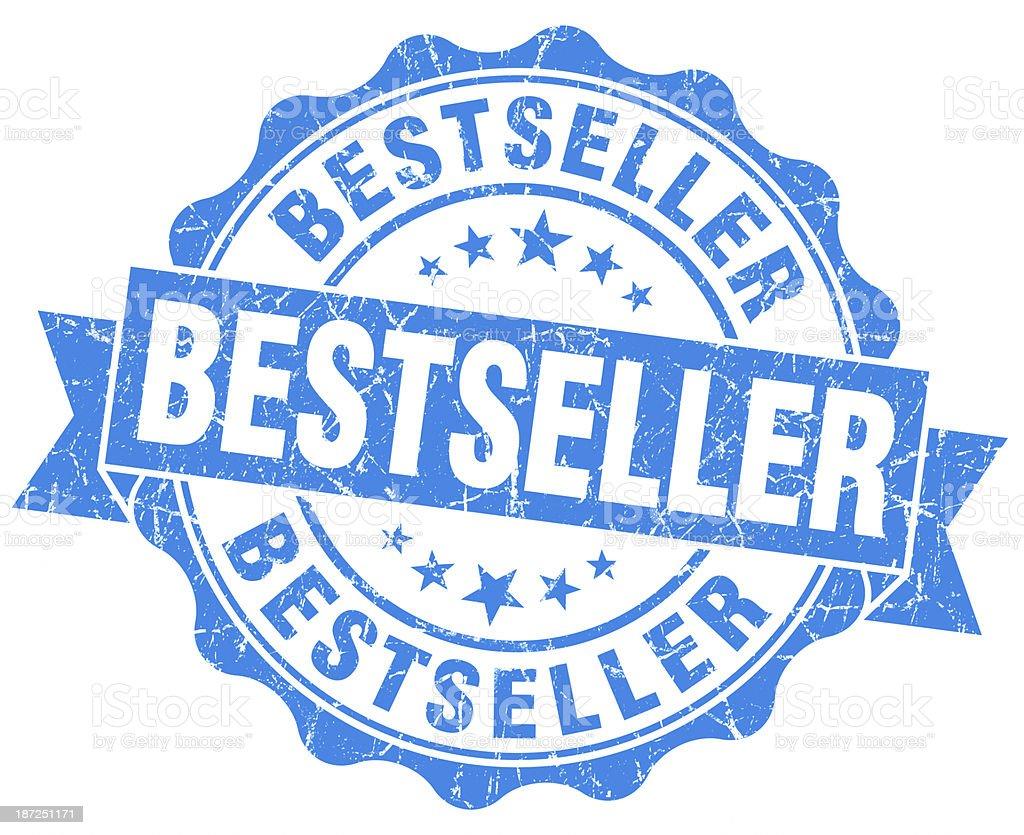 bestseller round blue grunge seal stock photo
