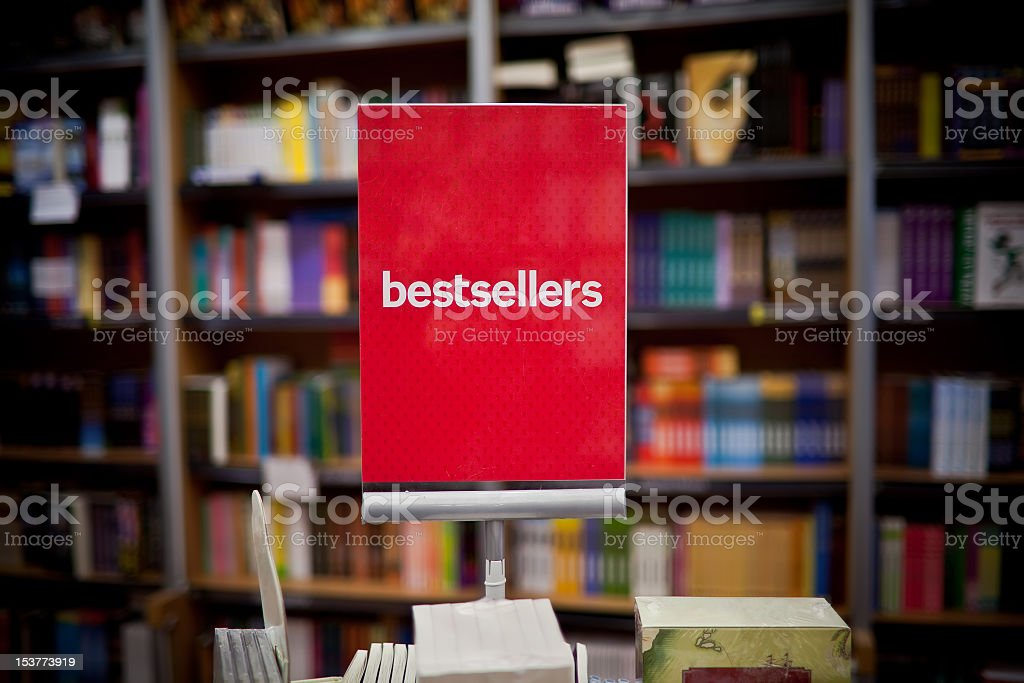 Bestsellers area in bookstore stock photo