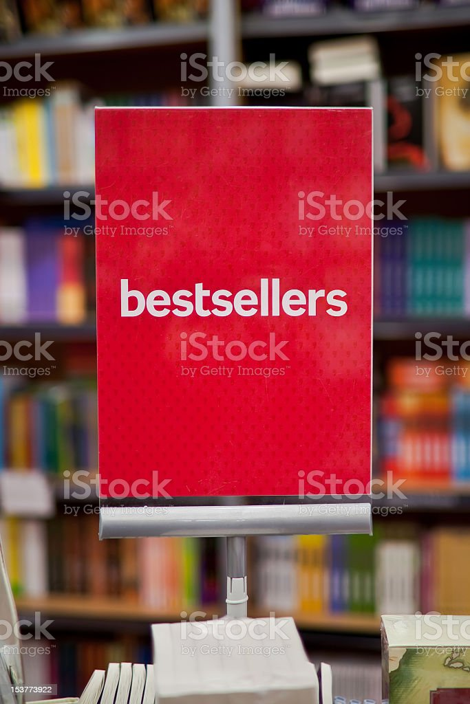 A bestsellers sign on a display in a bookstore stock photo