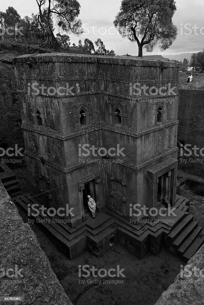 Bet Giorgis, Lalibela Ethiopia vertical Black and White royalty-free stock photo