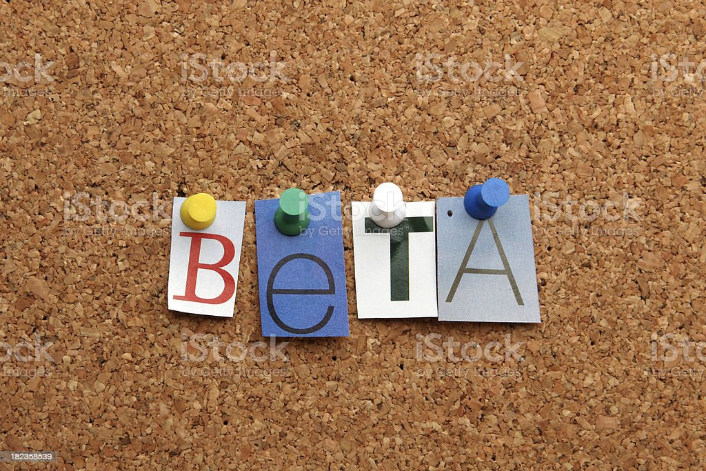 Beta pinned on noticeboard royalty-free stock photo