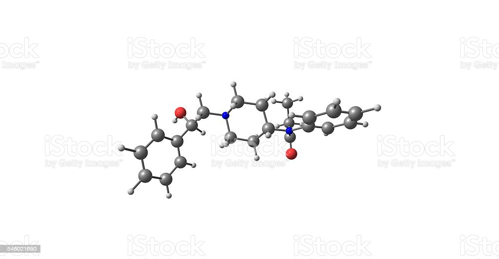 beta-Hydroxyfentanyl molecular structure isolated on white stock photo