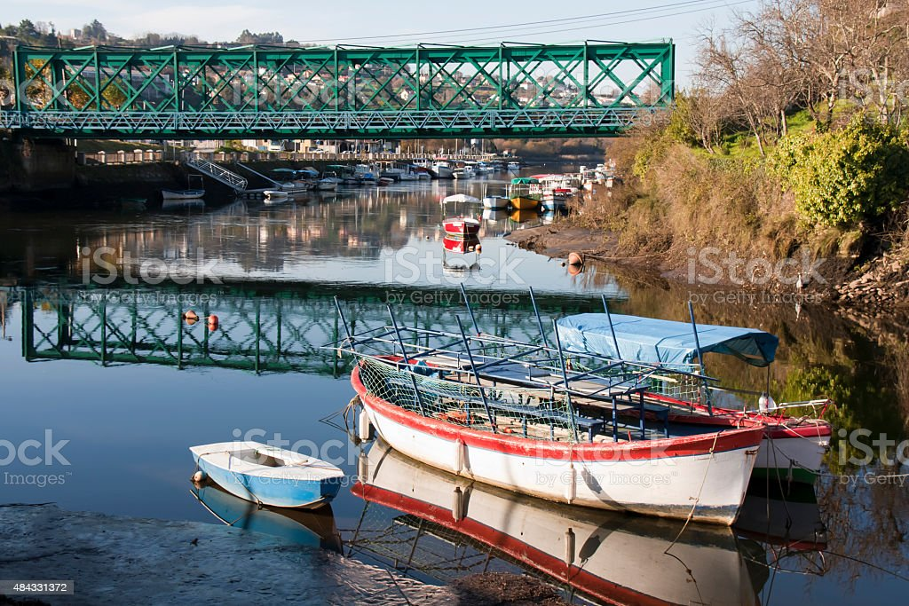 Betanzos river and railway bridge. stock photo