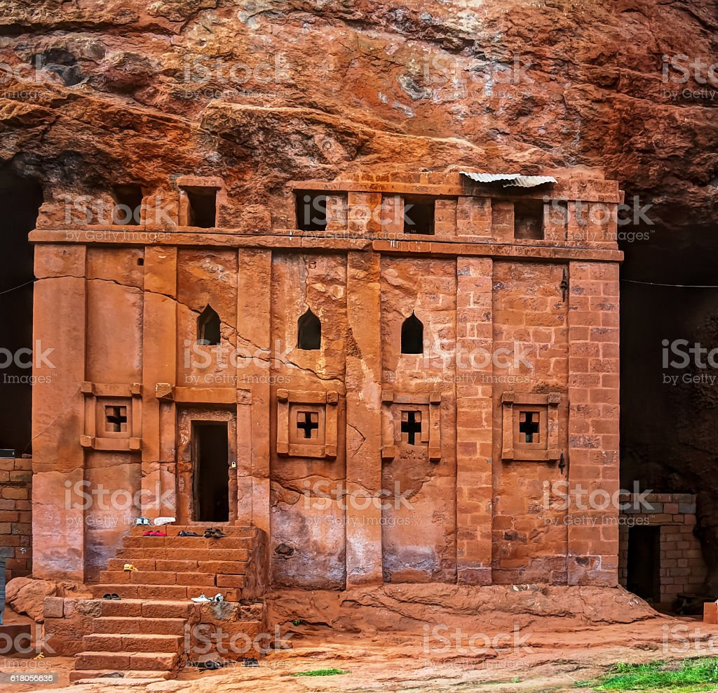 Bete Abba Libanos rock-hewn church, Lalibela Ethiopia stock photo