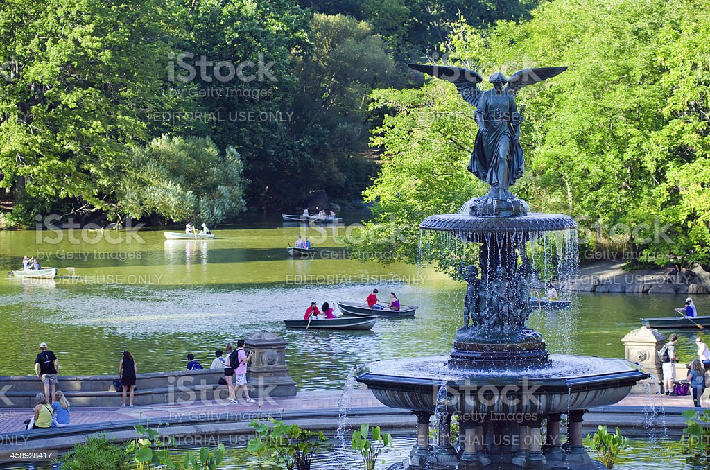 Bethesda Fountain at Central Park in New York City stock photo