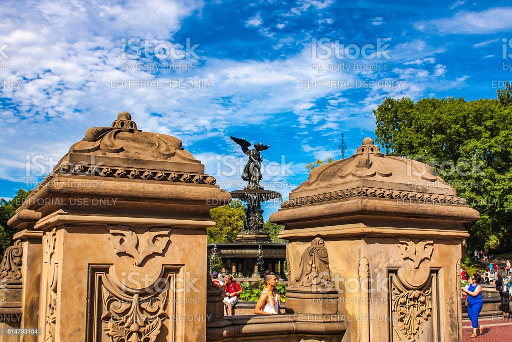 Bethesda Fountain in Central Park in New York stock photo