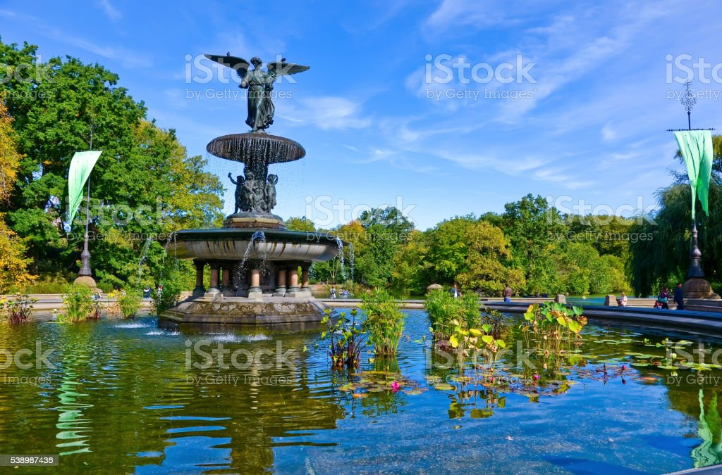 Bethesda Fountain in the Central Park, New York City. stock photo