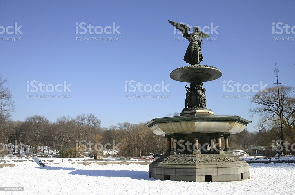 Bethesda Fountain in the snow stock photo