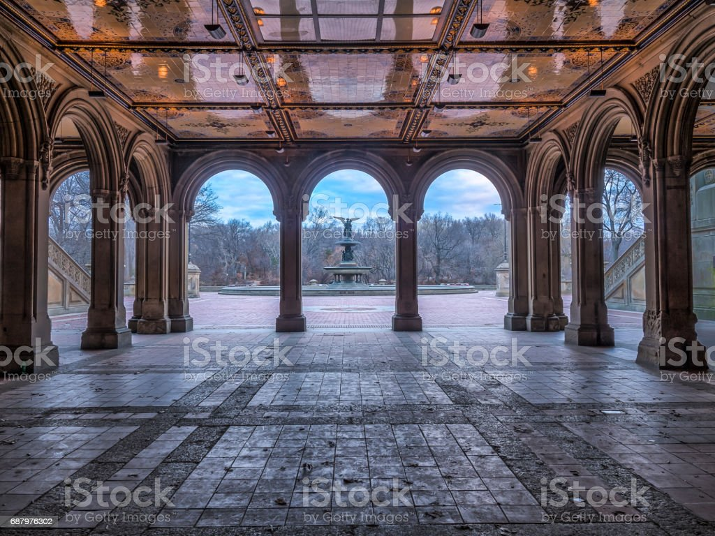 Bethesda Terrace and Fountain tunnel stock photo