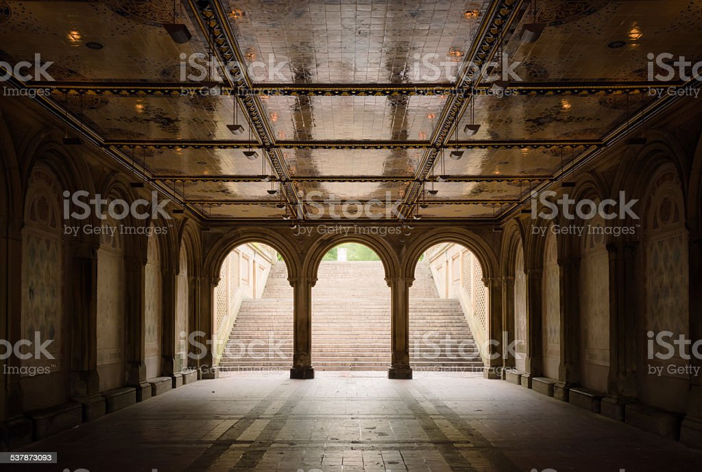 Bethesda Terrace at Central Park in New York City stock photo