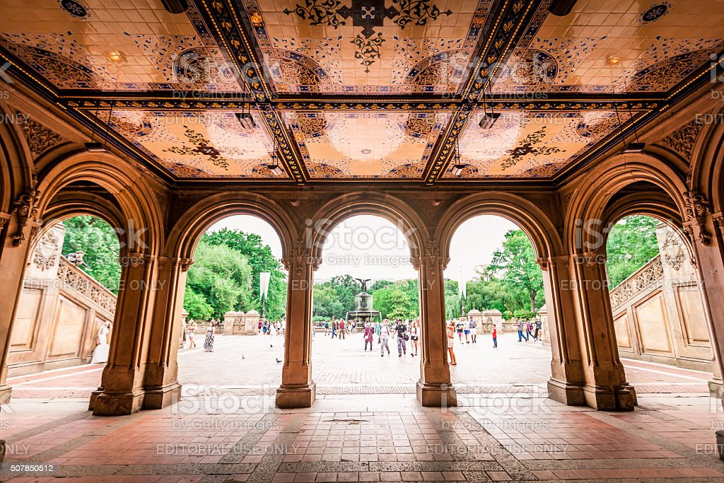 Bethesda Terrace in Central Park stock photo