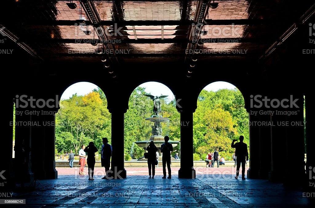 Bethesda Terrace in the Central Park, New York City stock photo