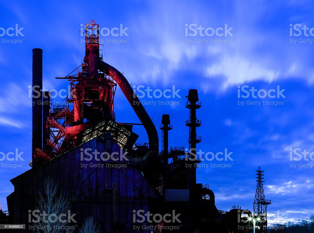 Bethlehem Steel Stacks at dusk, with lights on stock photo