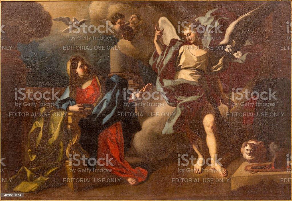 Bethlehem - The Annunciation paint in St. Ann church stock photo
