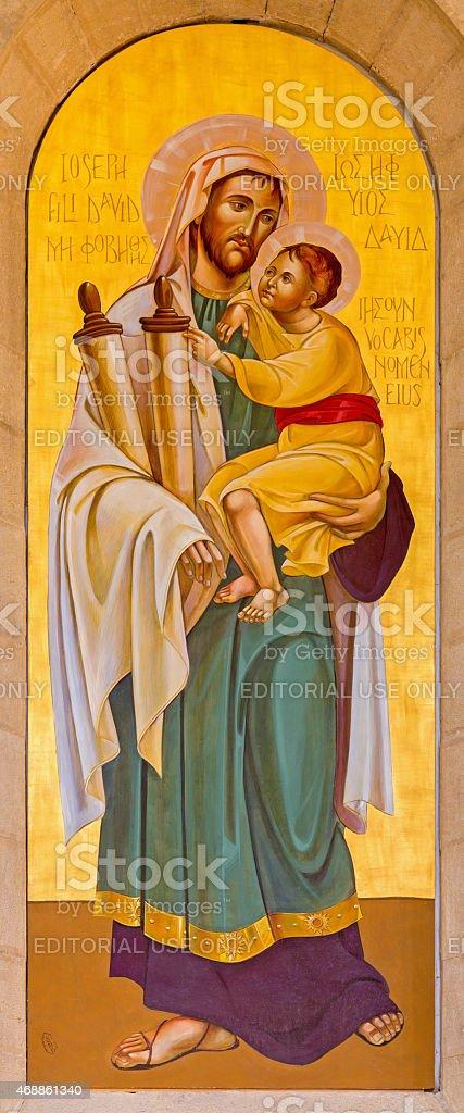 Bethlehem - The icon of st. Joseph stock photo