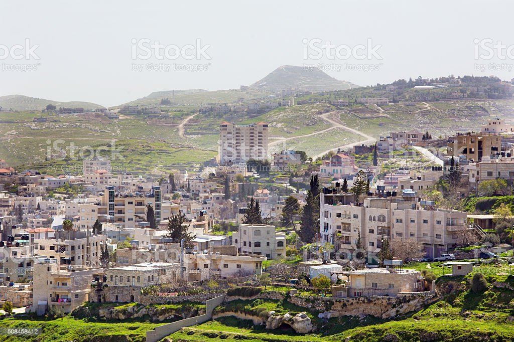 Bethlehem - The outlook over the settlement and Herodion stock photo