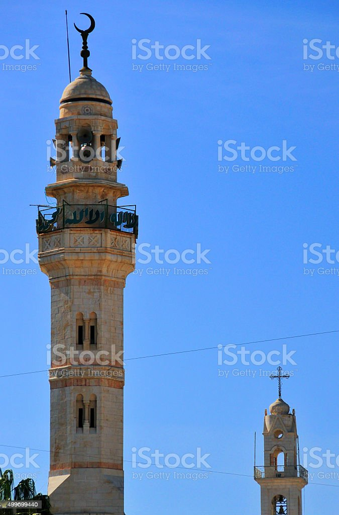 Bethlehem, West Bank; church tower and minaret - coexistence stock photo