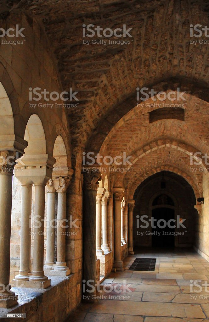 Bethlehem, West Bank: Franciscan Monastery cloister, St. Catheri stock photo