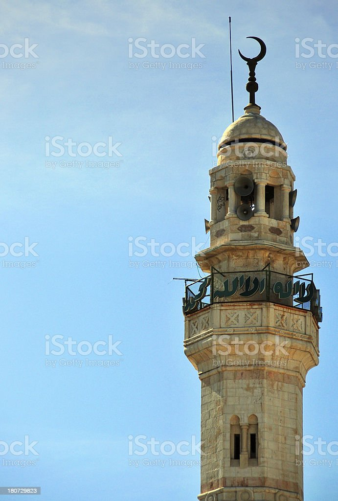 Bethlehem, West Bank, Palestine: Mosque of Omar minaret royalty-free stock photo