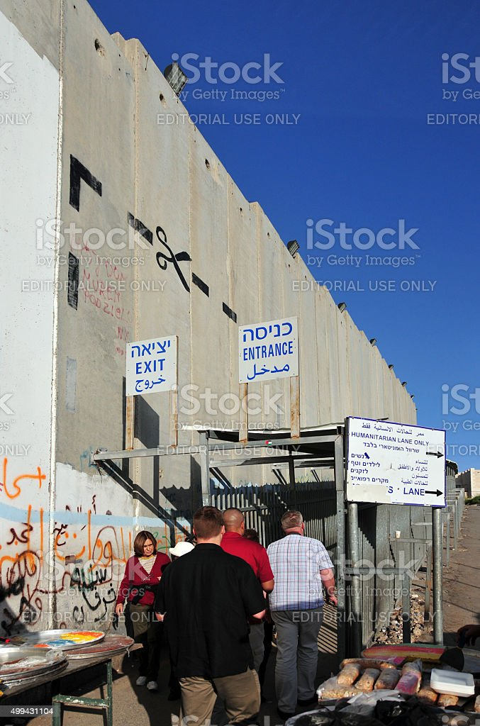 Bethlehem, West-Bank: people cross the border, Israeli wall stock photo