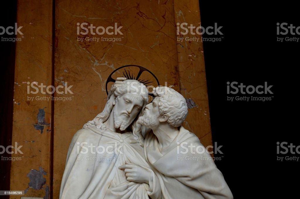 Betrayal: Judas kissing Jesus stock photo
