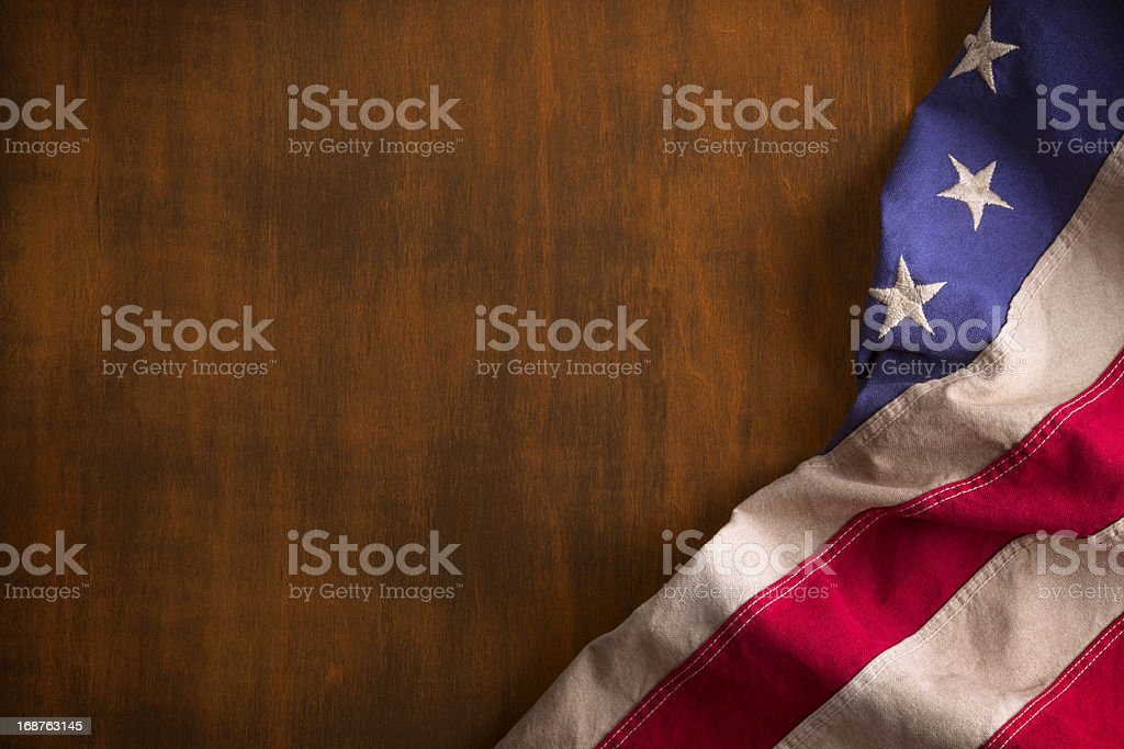 Betsy Ross Flag on Rustic Wood Background royalty-free stock photo