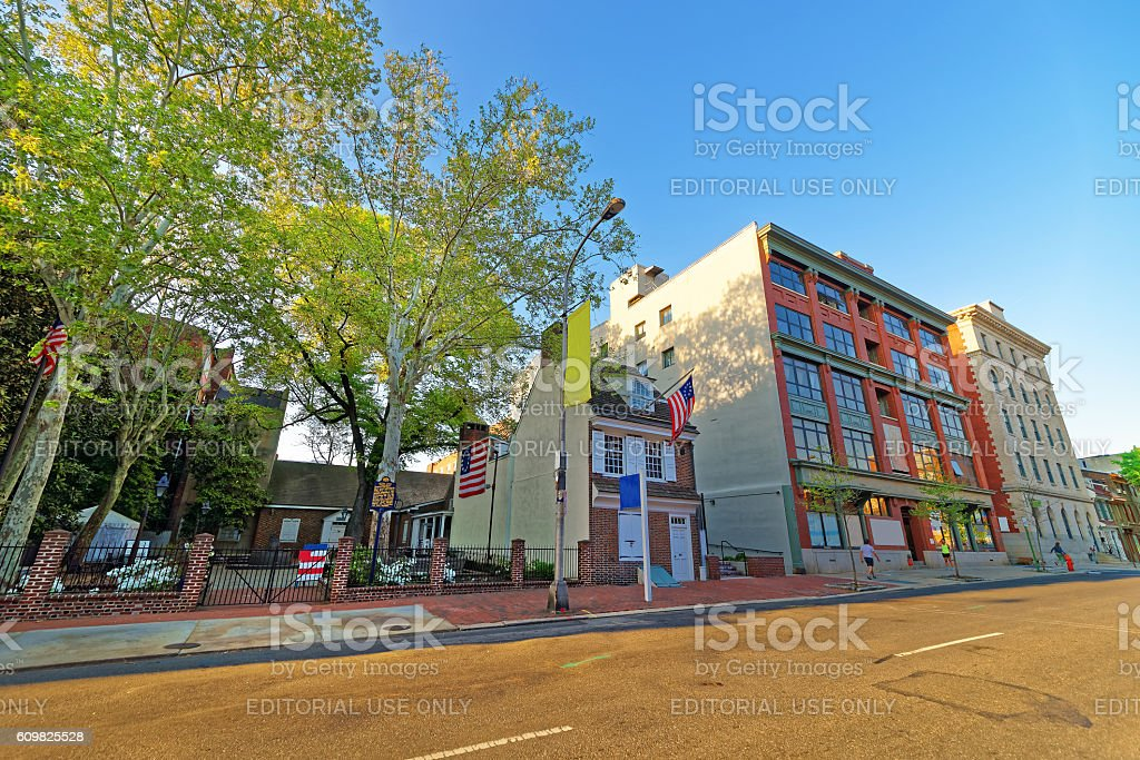Betsy Ross house and Hanging American Flag in Old City stock photo