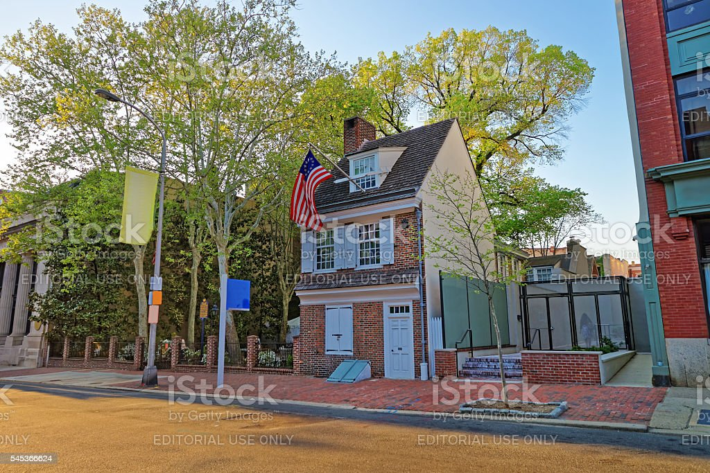 Betsy Ross house and Hanging American Flag in Philadelphia PA stock photo
