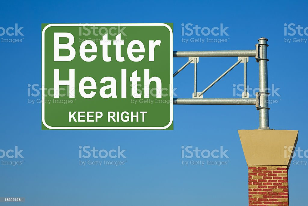 Better Health Keep Right Highway Sign stock photo
