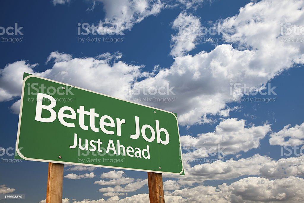 Better Job Green Road Sign royalty-free stock photo