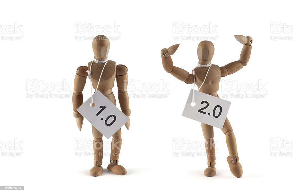 Better version - wooden mannequin proud about his 2.0 royalty-free stock photo