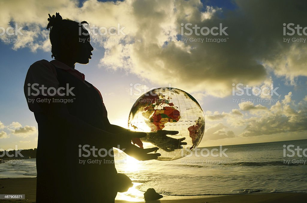 better world in hands of the children stock photo