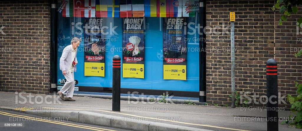 Betting shop marketing the Euro 2016 Football stock photo