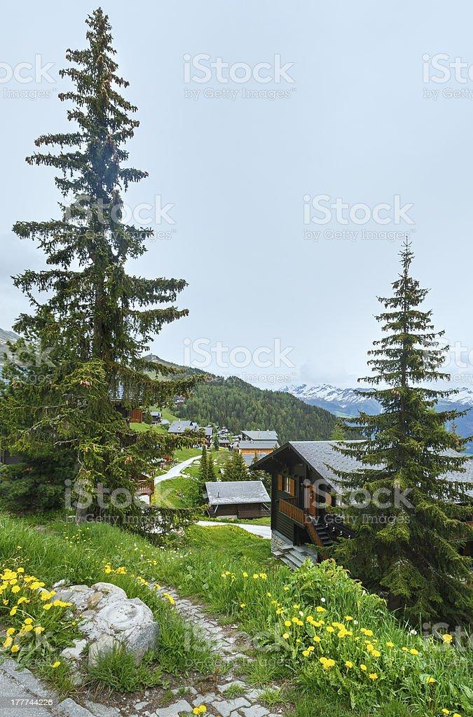 Bettmeralp village summer view (Switzerland) stock photo