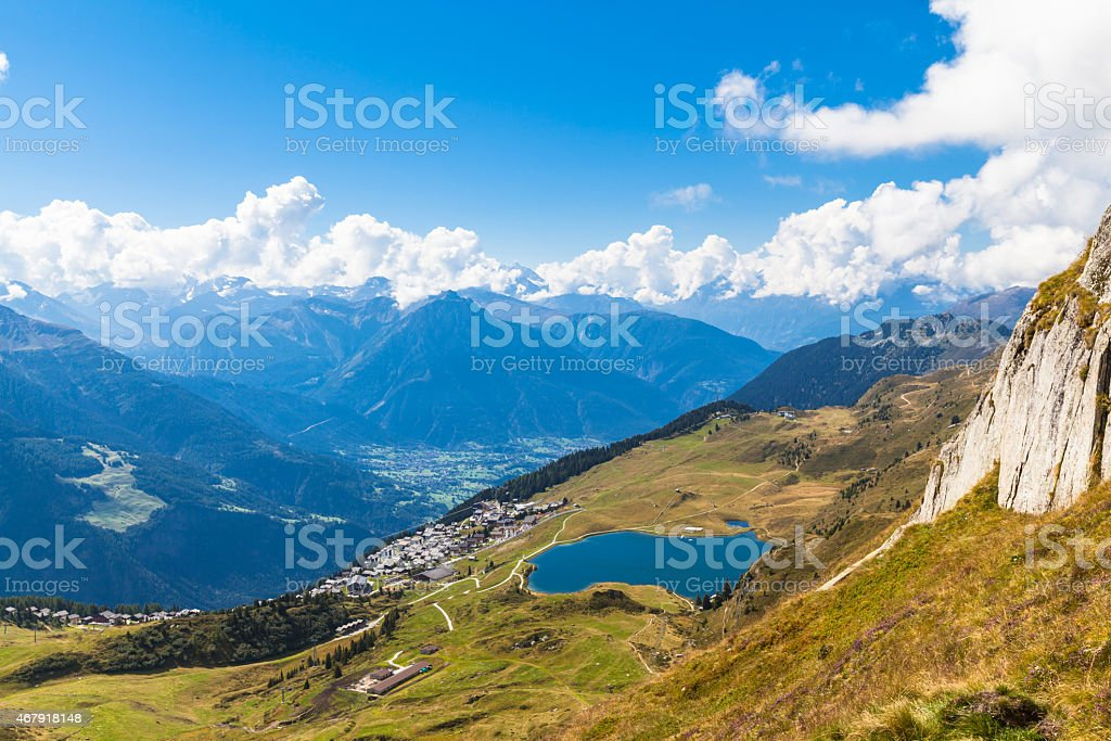 Bettmersee (Lake) and the alps in Valais stock photo