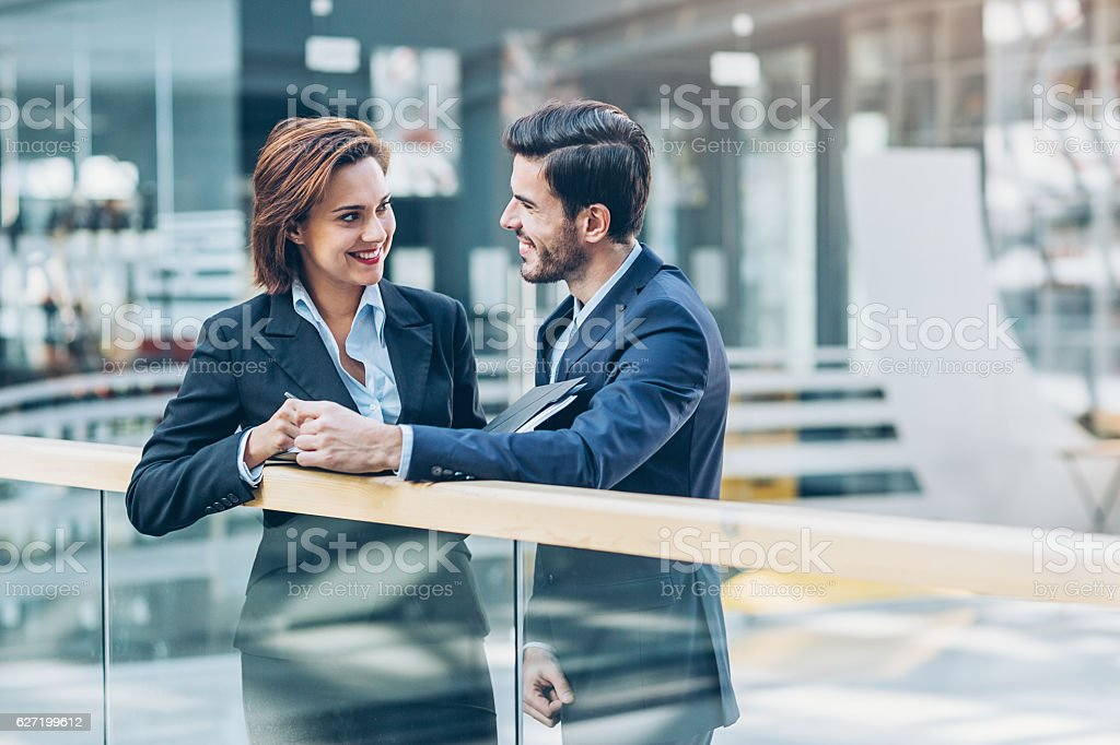 Between colleagues stock photo