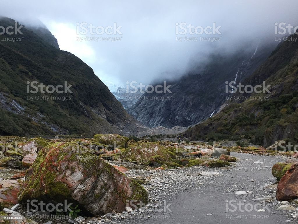 FOG between mountainat Franz Josef glacier, New Zealand stock photo