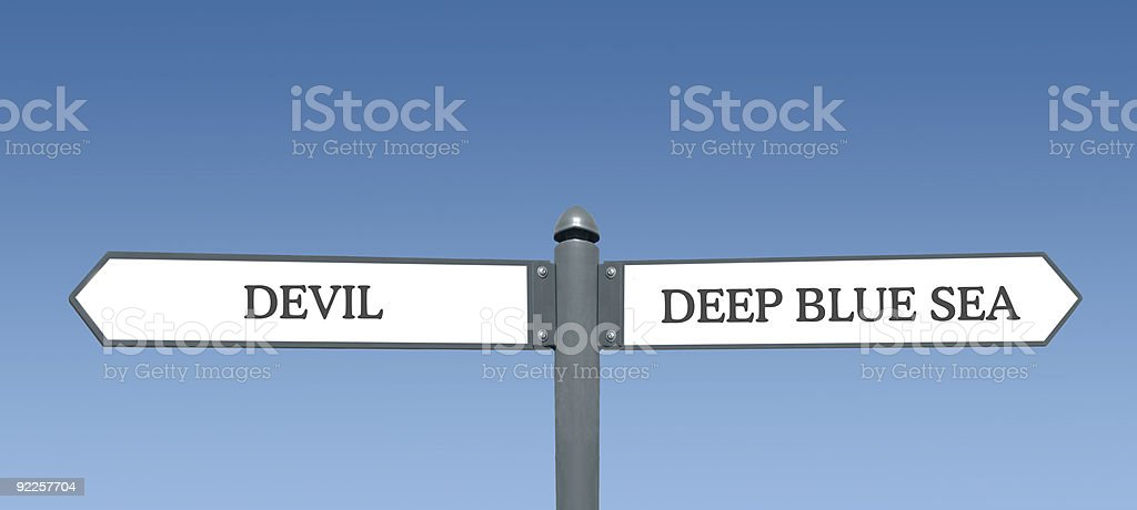 Between the Devil and Deep Blue Sea royalty-free stock photo