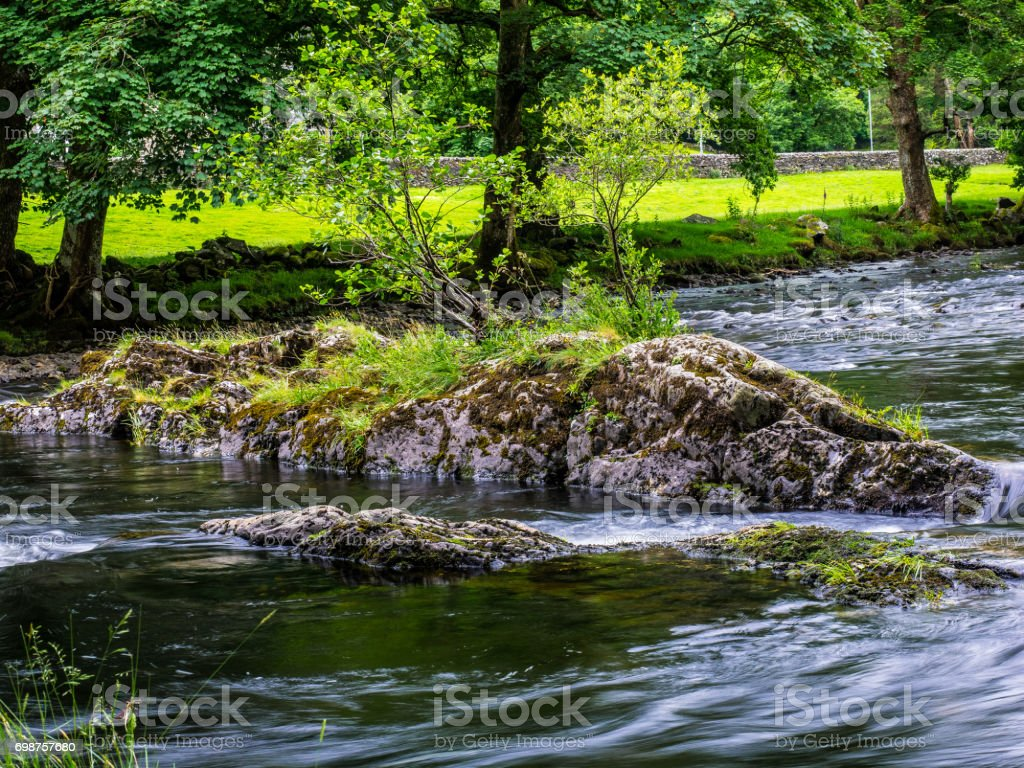 Betws-y-coed river in North Wales stock photo