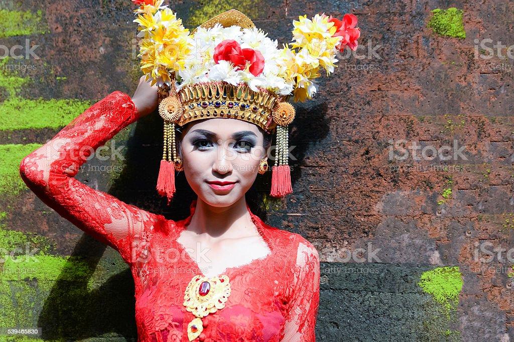 Beutiful Balinese Girl Traditional Style stock photo