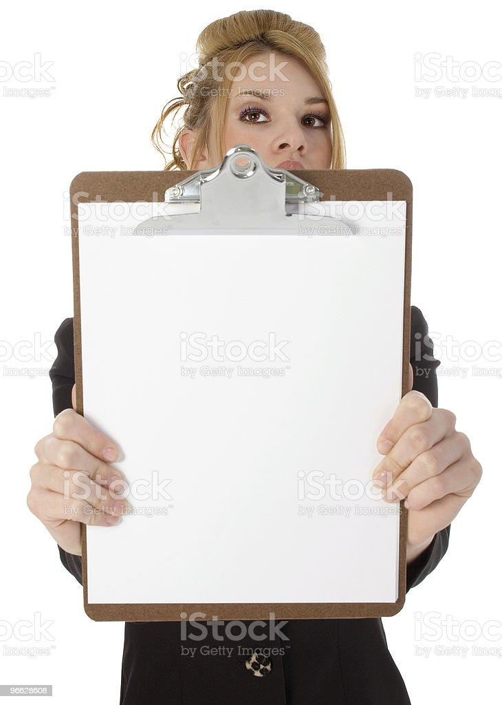 Beutiful Hispanic Woman Holding Clipboard royalty-free stock photo