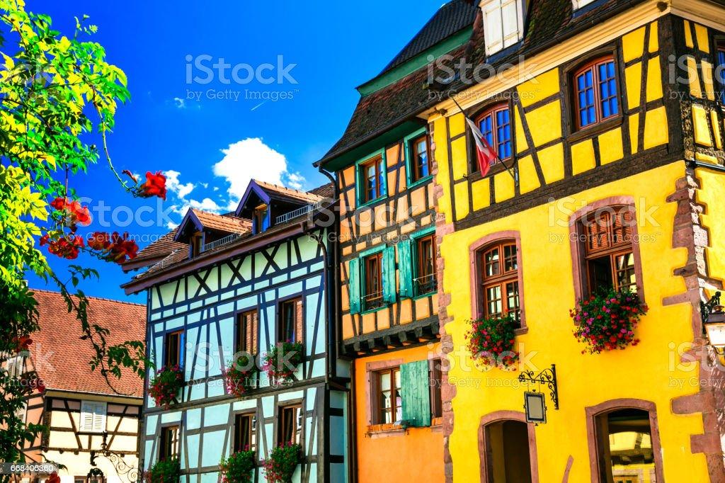 Beutiful places of France - colorful Riquewihr village in Alsace - famous 'vine route' stock photo