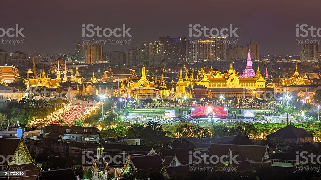 Beutiful scene of Wat Phra Kaew at dusk stock photo