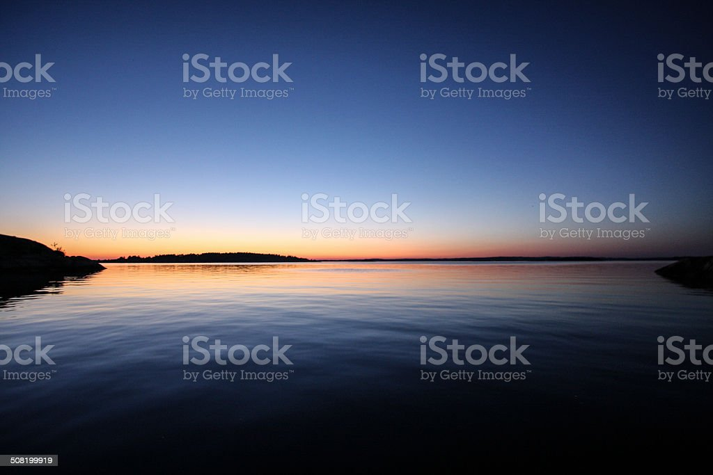 Beutiful sunset at Hvaler Islands, Norway royalty-free stock photo