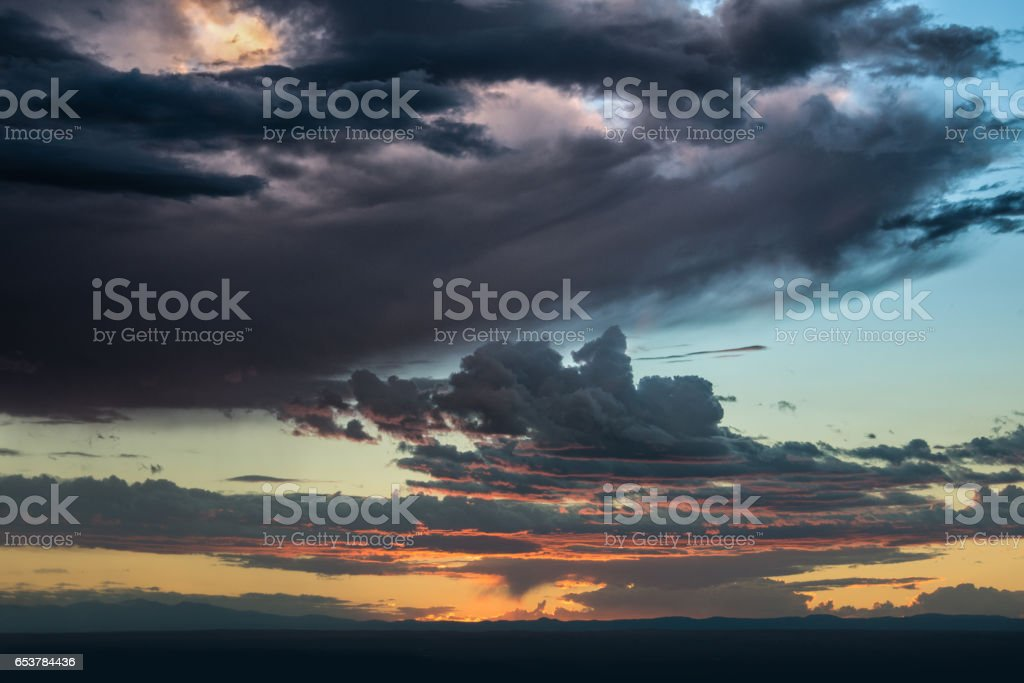 Beutiful sunset sky and clouds over the horizon stock photo