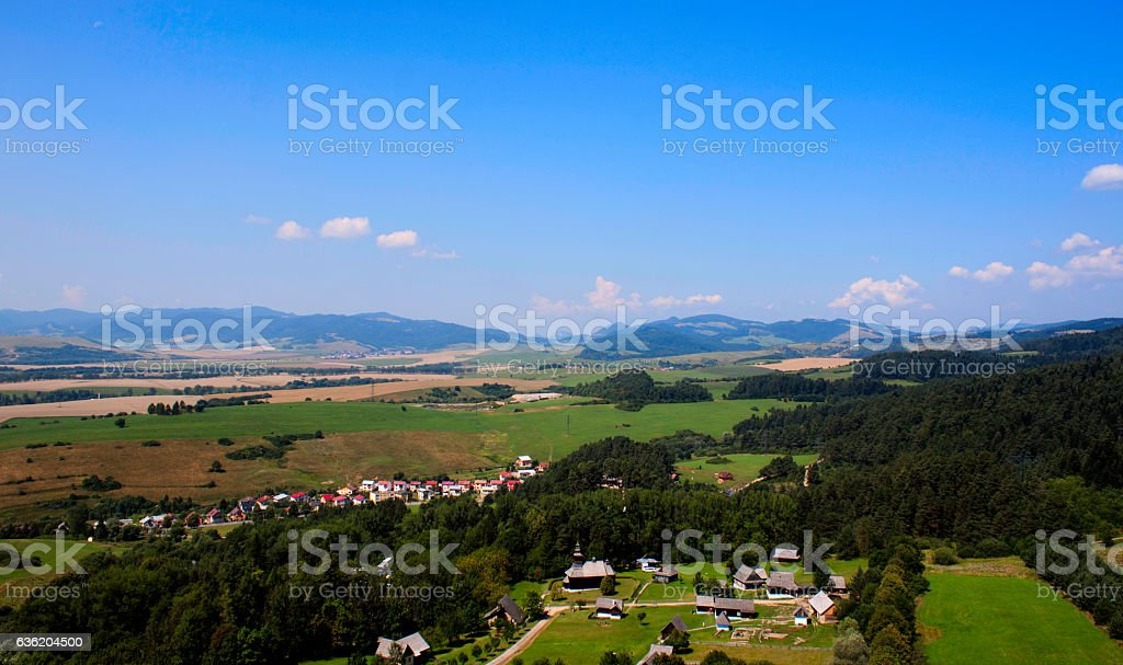 Beutiful view from castle tower of valley. Third stock photo