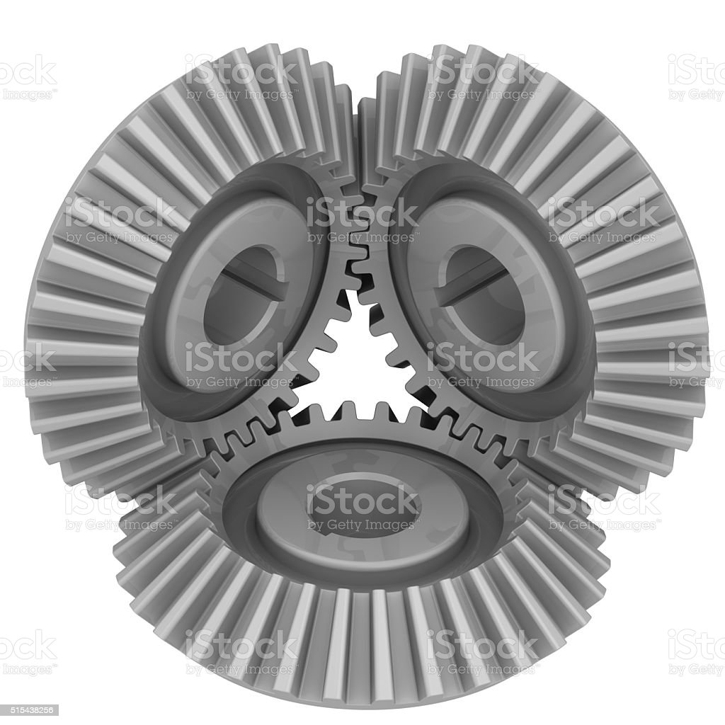 Bevel gears in engagement stock photo