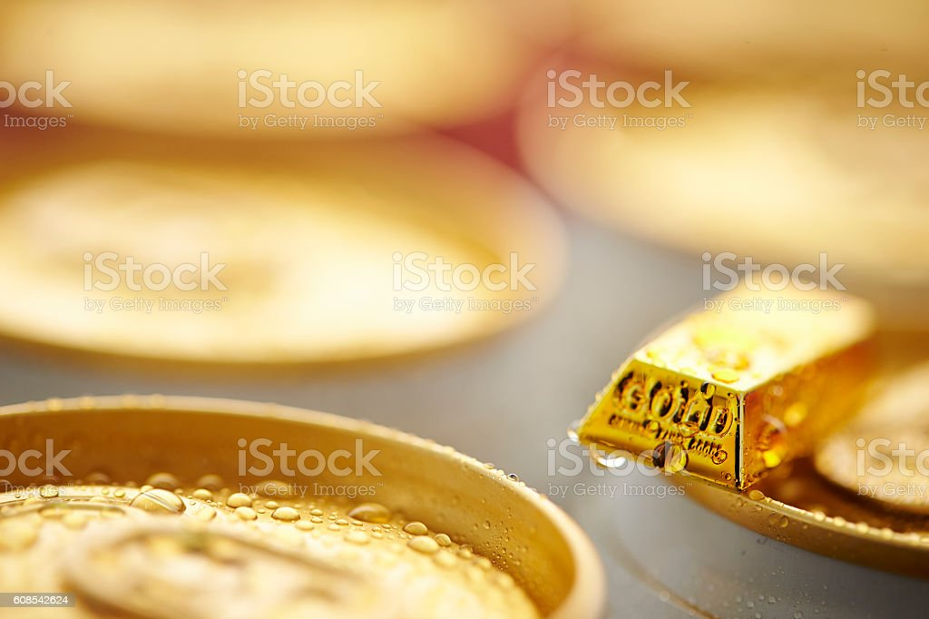 Beverage can with gold bar stock photo