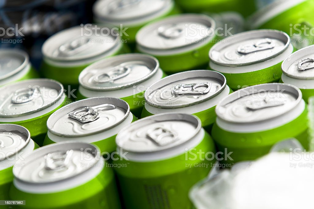 Beverage cans on ice royalty-free stock photo