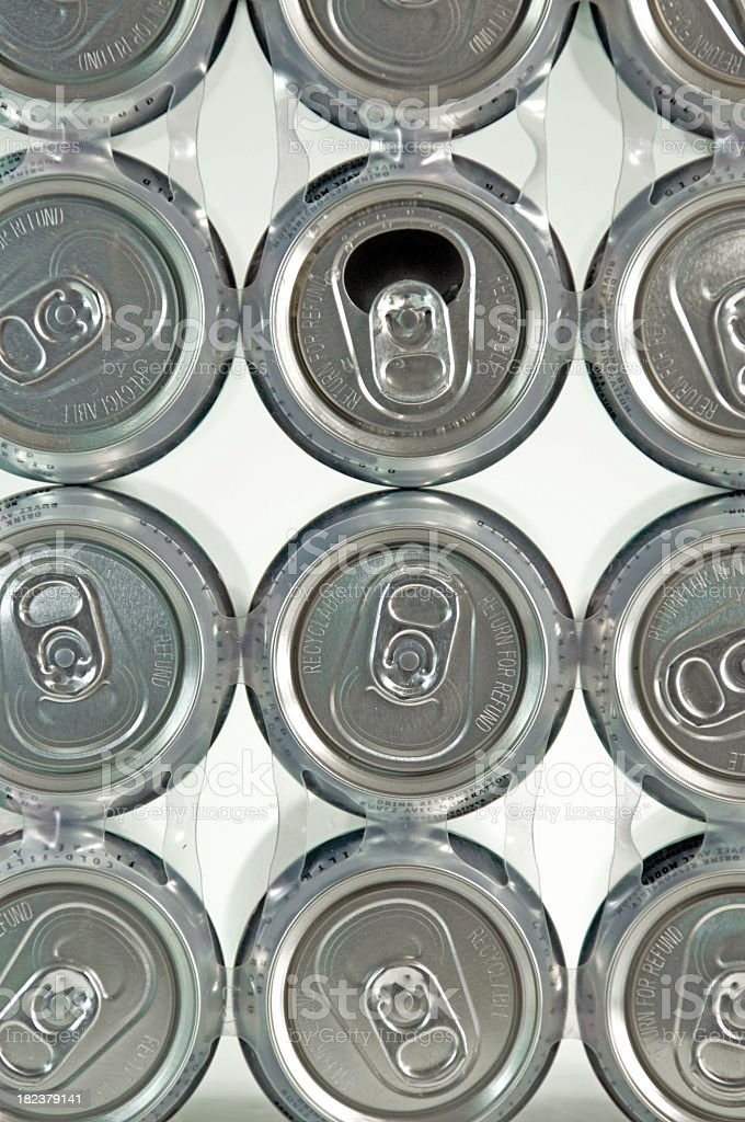 Beverage Cans... One Open royalty-free stock photo